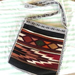 Woven Baja Bag with Zipper Crossbody or Shoulder
